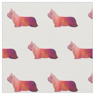 Skye Terrier Silhouette Tiled - Pink Fabric