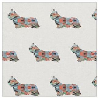 Skye Terrier Silhouette Tiled - Plaid Fabric