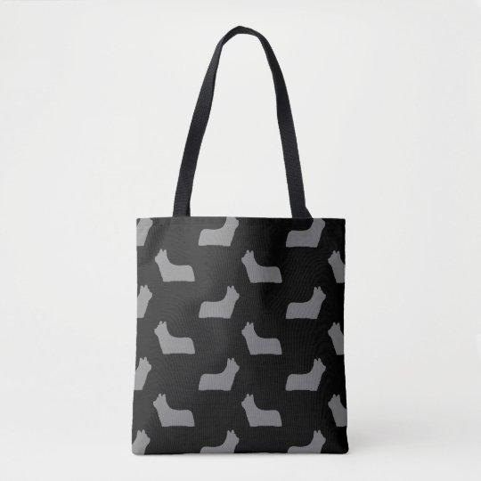 Skye Terrier Silhouettes Pattern Tote Bag