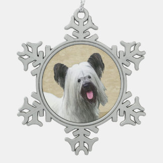Skye Terrier Snowflake Pewter Christmas Ornament