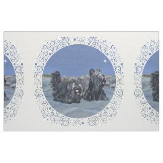 Skye Terriers Winter Blue Fabric