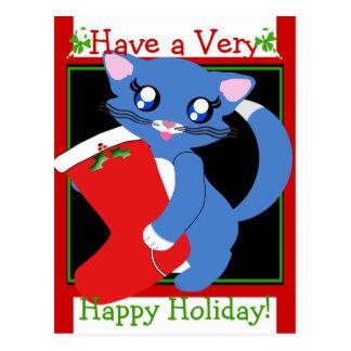 Skye Toon Kitten Holiday Stocking Postcard