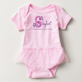 Skylar girls name & meaning S monogram baby romper