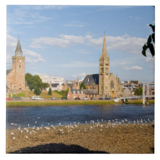 Skyline and river of quaint town of Inverness Ceramic Tiles