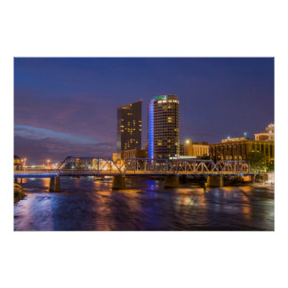Skyline At Dusk, On The Grand River Posters