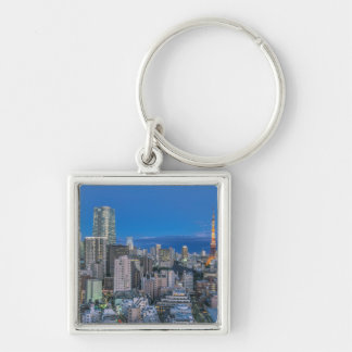 Skyline at twilight Silver-Colored square keychain