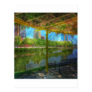 Skyline & Bench, Spring. Postcard