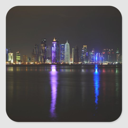 Skyline of Doha, Qatar at night sticker