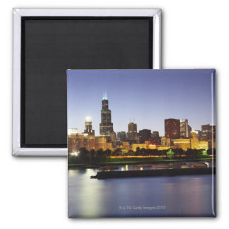 Skyline of downtown Chicago at dusk Magnet