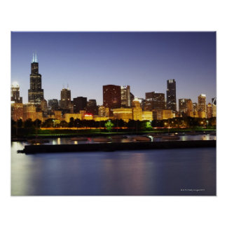 Skyline of downtown Chicago at dusk Poster