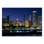 Skyline of Downtown Chicago at night Print