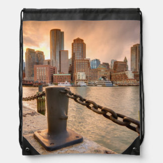 Skyline of Financial District of Boston Drawstring Bag