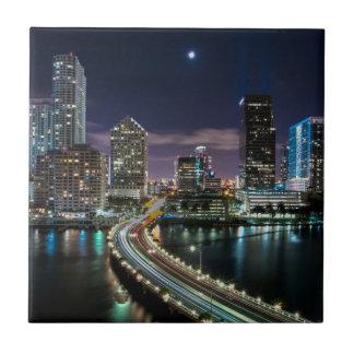 Skyline of Miami city with bridge at night Ceramic Tiles