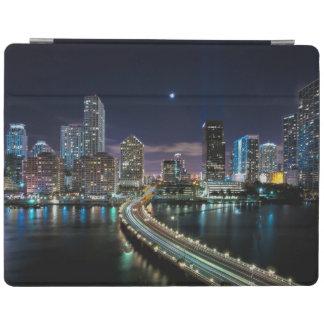 Skyline of Miami city with bridge at night iPad Cover