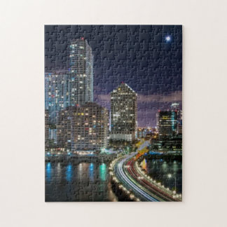 Skyline of Miami city with bridge at night Jigsaw Puzzle