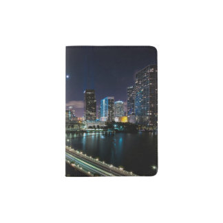 Skyline of Miami city with bridge at night Passport Holder