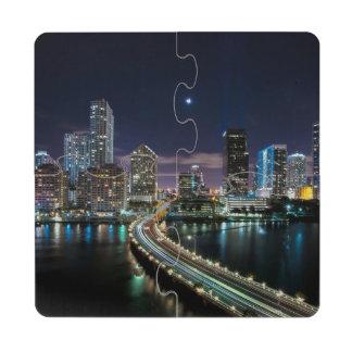 Skyline of Miami city with bridge at night Puzzle Coaster
