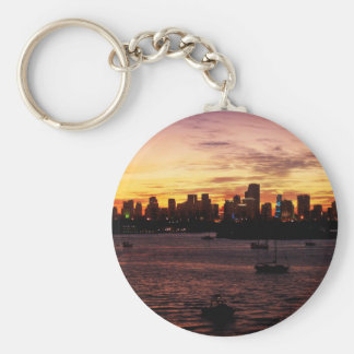 Skyline of Miami Florida at Sunset Basic Round Button Keychain
