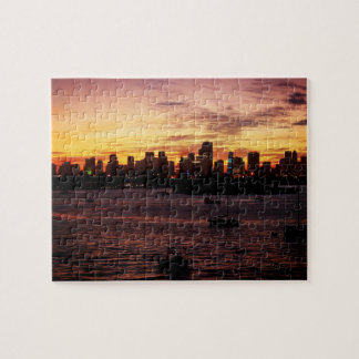 Skyline of Miami Florida at Sunset Jigsaw Puzzle