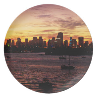 Skyline of Miami Florida at Sunset Plates