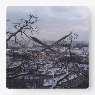 Skyline of Snowy Prague Clock