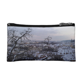 Skyline of Snowy Prague Cosmetic Bag