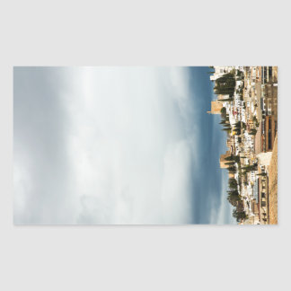 Skyline of the historic part of a city on a storm sticker