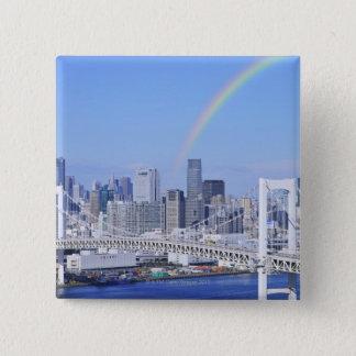 Skyline of Tokyo and Rainbow Bridge 2 Inch Square Button