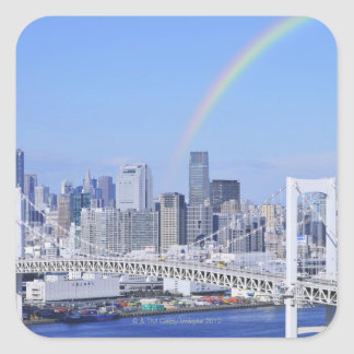 Skyline of Tokyo and Rainbow Bridge Square Sticker