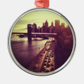Skyline Sunset - Brooklyn Bridge and NYC Cityscape Silver-Colored Round Ornament