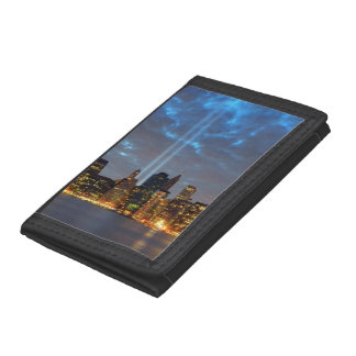 Skyline view of city in night. tri-fold wallet
