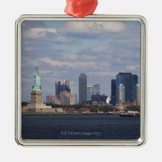 Skyline with Statue of Liberty Silver-Colored Square Ornament