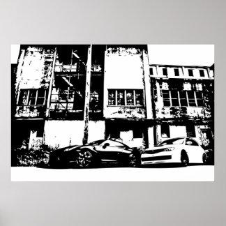 Skyline with WRX Impreza Sti Poster