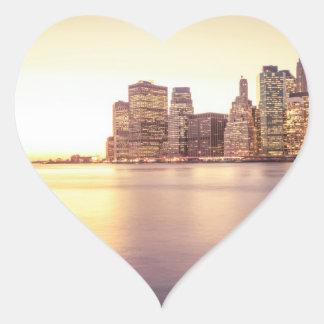 Skyscraper Skyline - New York City Sunset Heart Sticker