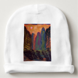Skyscrapers by the river baby beanie