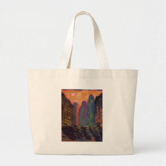 Skyscrapers by the river large tote bag