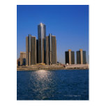 Skyscrapers by the water in Detroit Post Cards