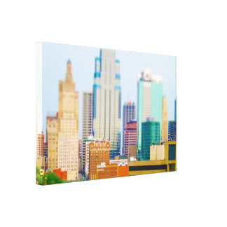 Skyscrapers High Rise Downtown Kansas City Skyline Stretched Canvas Prints
