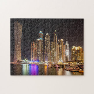 Skyscrapers in Dubai Marina at night, UAE Jigsaw Puzzle