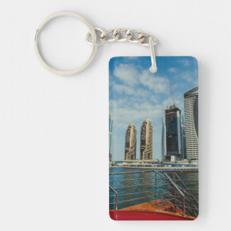 Skyscrapers in Dubai Marina Double-Sided Rectangular Acrylic Keychain
