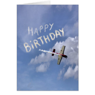 Skywriting Happy Birthday in the clouds Card