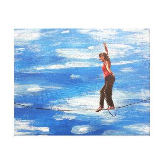 Slacklining painting canvas print