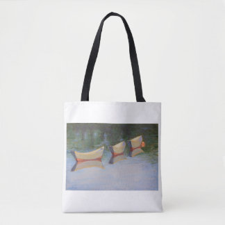 Slacktide dories on a tote bag