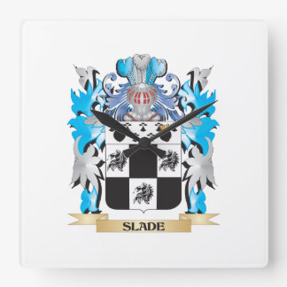 Slade Coat of Arms - Family Crest Square Wall Clocks