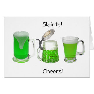Slainte Cheers Green Beer St Patrick's Day card