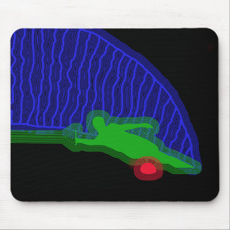 Slalom Water Skier Neon Spray Mouse Pad