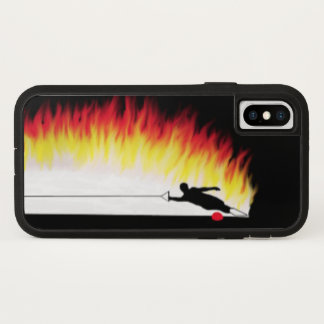 Slalom Water Skier With Flames iPhone X Case