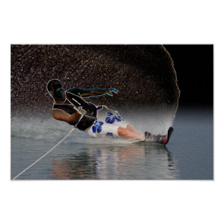 Slalom Waterskiing Art Poster