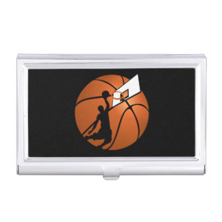 Slam Dunk Basketball Player w/Hoop on Ball Business Card Holder