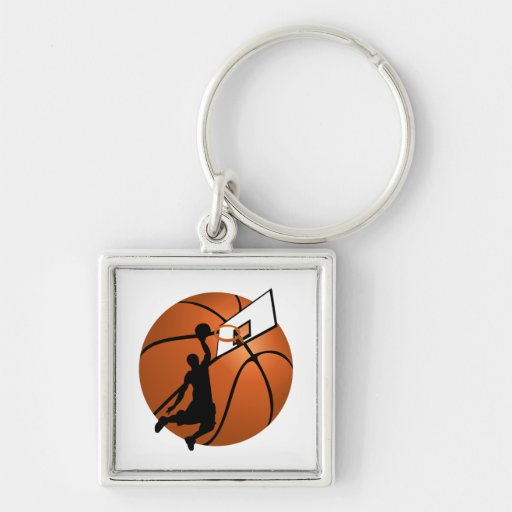 Slam Dunk Basketball Player w/Hoop on Ball Key Chains